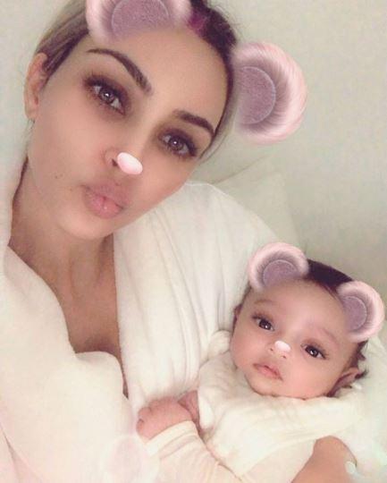 Kim Kardashian and Baby Chicago