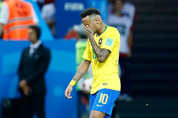 Brazil's forward Neymar gestures during the Russia 2018 World Cup quarter-final football match between Brazil and Belgium at the Kazan Arena in Kazan on July 6, 2018. / AFP PHOTO / BENJAMIN CREMEL / RESTRICTED TO EDITORIAL USE - NO MOBILE PUSH ALERTS/DOWNLOADS BENJAMIN CREMEL/AFP/Getty Images