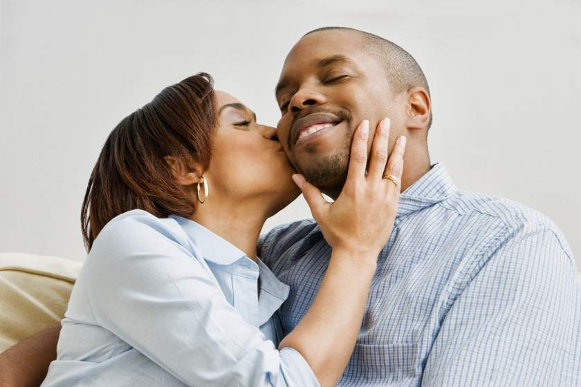 African American Couple Kissing1